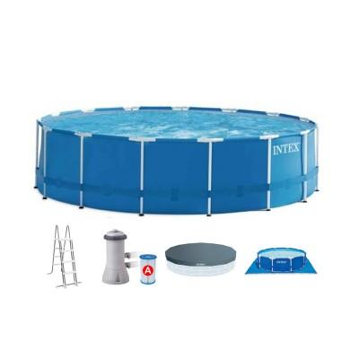 Бассейн каркасный 457х122см intex 28242 c фильтр-насосом, лестницей, подстилкой и тентом