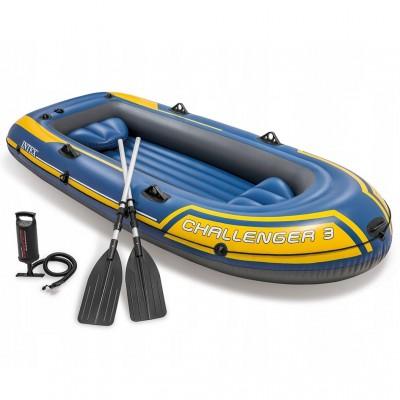 Надувная лодка трехместная с алюминиевыми веслами Challenger-3 intex 68370