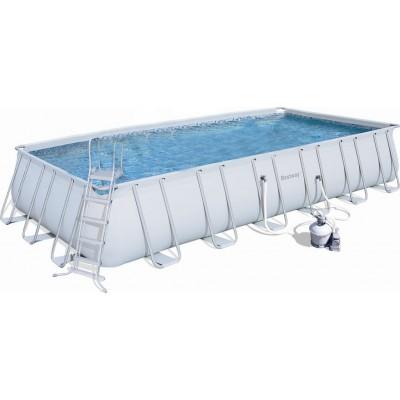 Бассейн каркасный 671х366х132см Bestway 56471 Rectangular Frame Pool с песочным фильтр-насосом