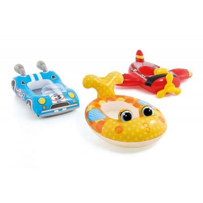 Надувная детская лодка 107х94см 3 вида intex 59380