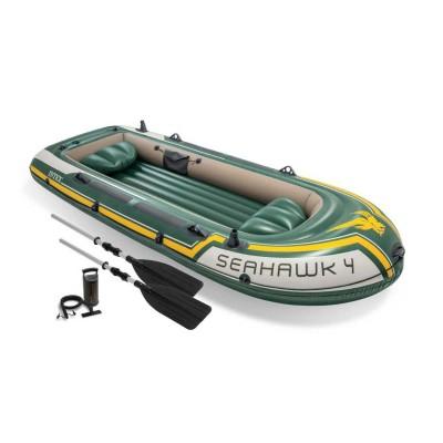 купить Надувная лодка четырёхместная с алюминиевыми веслами и насосом Seahawk 4 Set 351х145х48см intex 68351 за 8540руб. в ИНТЕКСХАУС