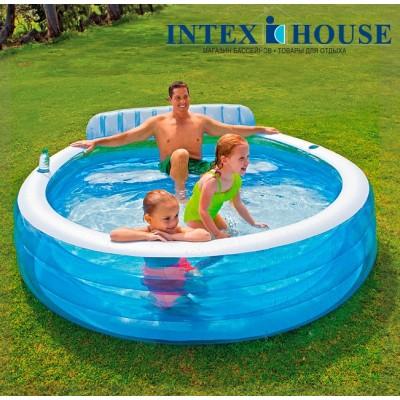 купить Бассейн Семейный с сидениями 224х216х76см от 3-х лет intex 57190 за 3100руб. в ИНТЕКСХАУС