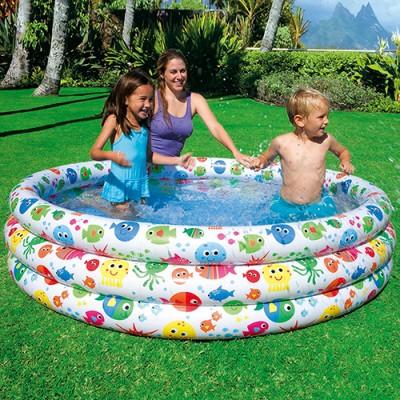 купить Бассейн детский Цветные брызги 3 кольца 168х38см intex 56440 за 826руб. в ИНТЕКСХАУС