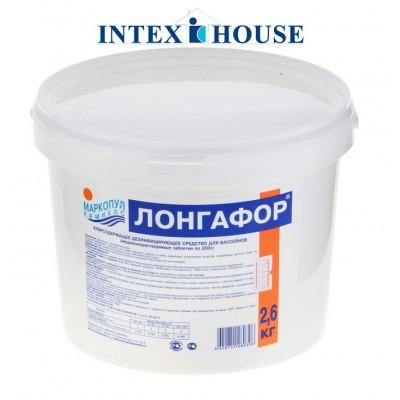 """купить Лонгафор 2,6кг таблетки по 200 гр. (для длительной """"хлорной"""" дезинфекции воды) всего за 1,490 руб. в INTEXHOUSE.RU"""