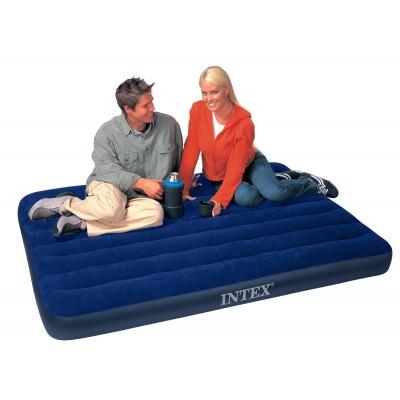 купить Матрас надувной двуспальный (с ручным насосом и 2 подушками) 152х203х22см intex 68765 за 1430руб. в ИНТЕКСХАУС