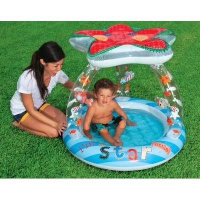 купить Бассейн детский Звезда с надувным полом и навесом 102х86см intex 57428 за 680руб. в ИНТЕКСХАУС