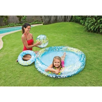 Бассейн детский Звезды с мячом и кругом 122х25см intex 59460
