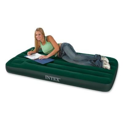 Купить матрас надувной полутораспальный со встроенным ножным насосом 137х191х22см intex 66928 Downy в Интекс Хаус
