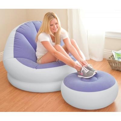 Кресло надувное с пуфиком 104х109х71см intex 68572