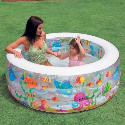 купить Бассейн детский Аквариум с надувным дном 152х56см intex 58480 в ИНТЕКСХАУС