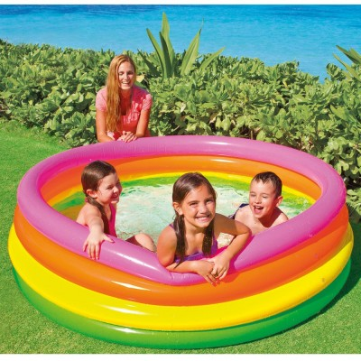 купить Бассейн детский с цветными кольцами 168х46см intex 56441 за 850руб. в ИНТЕКСХАУС