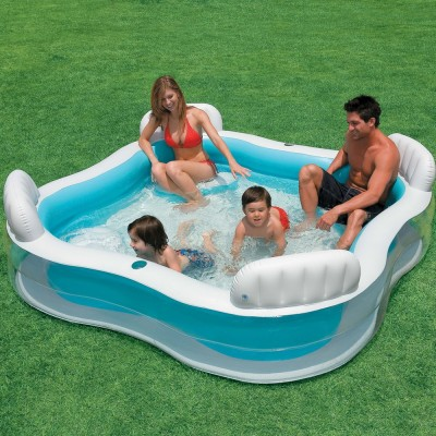 купить Бассейн Семейный с сидениями и спинками 229х229х66см intex 56475 за 2700руб. в ИНТЕКСХАУС