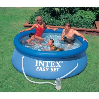 купить Бассейн с надувным верхним кольцом и фильтр-насосом 244х76см intex 28112 за 3890руб. в ИНТЕКСХАУС