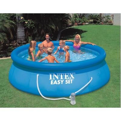 купить Надувной бассейн с надувным верхним кольцом + фильтр-насос 366х91см intex 28146 за 6440руб. в ИНТЕКСХАУС