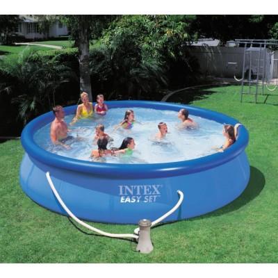 Надувной бассейн с надувным верхним кольцом + фильтр-насос  457х84см intex 28158