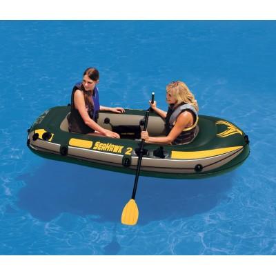 купить Лодка надувная 2-х местная с пластмассовыми веслами и насосом Seahawk 2 Set 236х114х41см intex 68347 за 2900руб. в ИНТЕКСХАУС