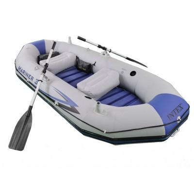 купить Лодка надувная 3-х местная с алюминиевыми веслами и насосом Mariner 3 Set 297х127х46см intex 68373 за 16300руб. в ИНТЕКСХАУС