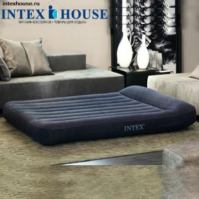купить Матрас надувной полутораспальный со встроенным насосом 220В 137х191х23см intex 66780 за 2050руб. в ИНТЕКСХАУС