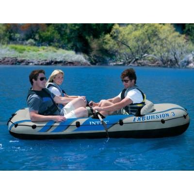 купить Надувная лодка 3-х местная с алюминиевыми веслами и насосом Excursion 3 Set 262х157х42см intex 68319 за 7900руб. в ИНТЕКСХАУС