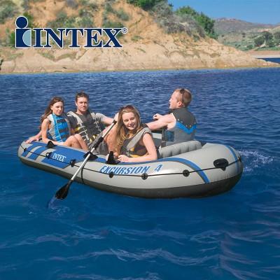 купить Надувная лодка 4-х местная с алюминиевыми веслами и насосом Excursion 4 Set 315х165х43см intex 68324 за 9700руб. в ИНТЕКСХАУС