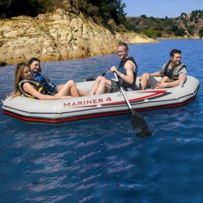 купить Надувная лодка 4-х местная с алюминиевыми веслами и насосом Mariner 4 Set 328х145х48см intex 68376 за 19990руб. в ИНТЕКСХАУС